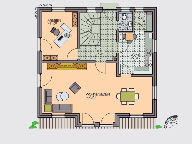 einfamilienhaus bach i arbeits und g stezimmer im erdgeschoss klebl hausbau. Black Bedroom Furniture Sets. Home Design Ideas
