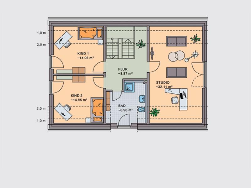 einfamilienhaus liszt wohn und schlafr ume auf einer ebene klebl hausbau. Black Bedroom Furniture Sets. Home Design Ideas